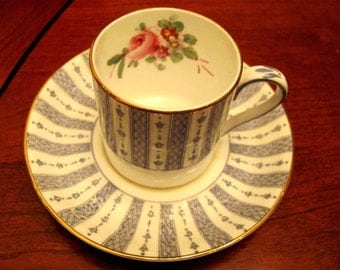Crown Staffordshire Demitasse Cup and Saucer Blue English Lace and Roses A15539