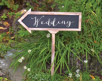 Chalkboard Arrow Sign Wedding Reception Sign Wood Frame Arrow Rustic Large Direction Reception Wedding Sign Rustic Wedding Sign Blackboard