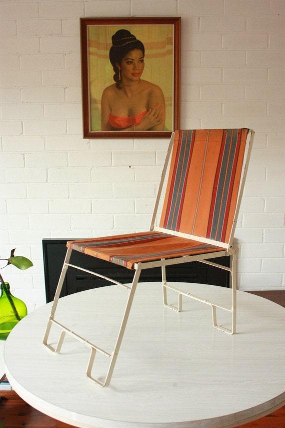 Vintage Folding Canvas Beach Chair Rare C1930 S