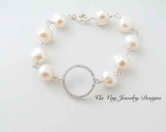 Freshwater Pearl and Cubic Zirconia Wire Wrapped Bracelet