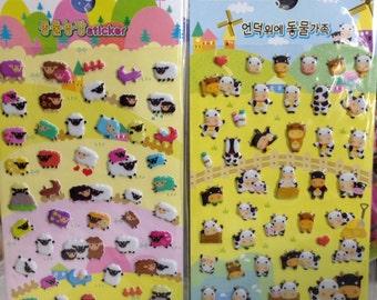 Japanese / Korean Puffy Sticker (Pick 1): Sheep Or Cow