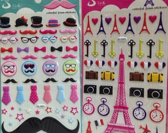 Japanese/ Korean Puffy Stickers (Pick 1)- French Mustache Or French Paris Eiffel Tower