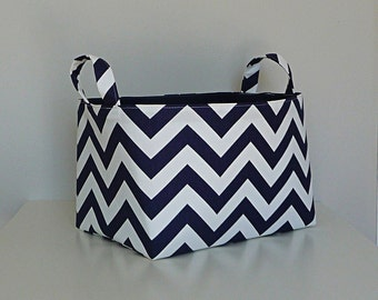 Extra Large Storage Basket Fabric Organizer in Navy Blue and White Chevron Zig Zag with Navy Blue Canvas liner