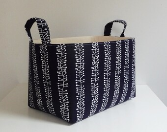 Large Storage Basket Fabric Organizer in Pure Burst Stripe Fabric in Navy and White by Stof with Handles - 8 x 12 x 8
