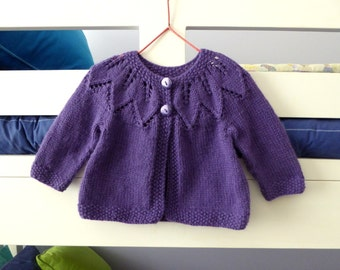 MADE to ORDER | Purple cardigan for baby girl to 6 months - hand knitted girls sweater
