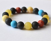 Turquoise Coral Amber Bracelet Multicolored Bohemian Tribal Amber Jewelry