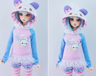 Slim MSD Minifee or SD BJD Hoodie - Kawaii Star Panda