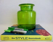 Vintage 1970's Clear Green Glass Vase - Large Green Glass Jar - Flowers ~ Container  ~ Beautiful GREEN GLASS