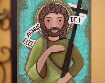 John the Baptiste, Juan el Bautista - Folk art, Original Mixed Media Painting On Wood Panel 8 x10 inch (20.5X 25.5 cm) by Evona