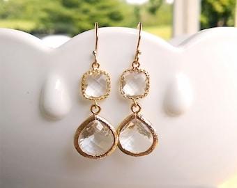 Clear Bridesmaid Earrings - Crystal Clear Earrings in Gold - Clear Drop Earrings - Clear Dangles - Wedding Jewelry, Bridesmaid Jewelry
