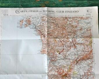 Vintage 1930s Touring Club of Italia map of Sardinia