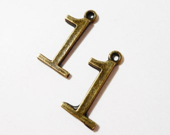 Number One Charms 20x10mm Antique Brass Metal (Bronze) 1 Number Charms, Number 1 Pendant, One Pendant, Jewelry Making Craft Supplies 10pcs