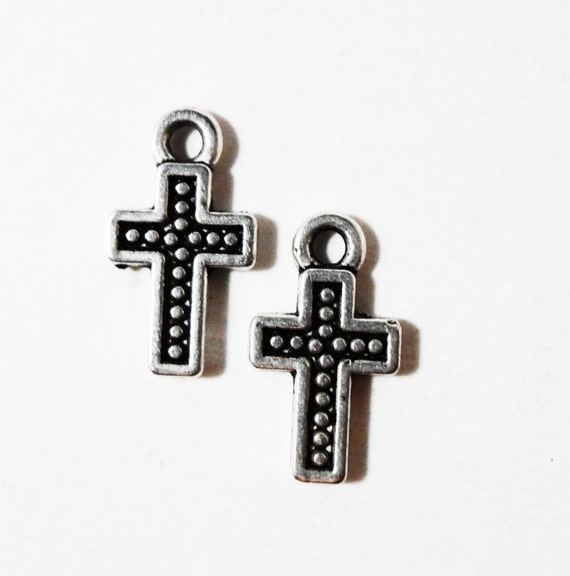 Silver Cross Charms 12x7mm Antique Silver Metal Tiny Cross Charms, Cross Pendants, Religious Charms, Catholic Charms, Jewelry Making 15pcs