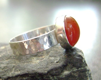 HAMMERED AGATE - Hammered Ring, Silver Ring, Your Size, Red Lace Agate Ring, Sterling Jewelry, Red Ring, Statement Jewelry, Hammered Silver