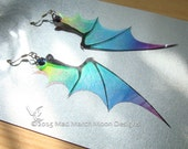 Dragon wing earrings, iridescent with sterling silver ear wires, various colours. Latch back and clip on version available