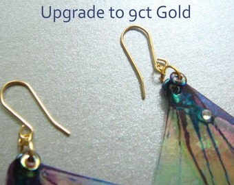 Upgrade, 9ct solid Gold earring hooks for any Mad March Moon Earrings, hypoallergenic handmade earrings.