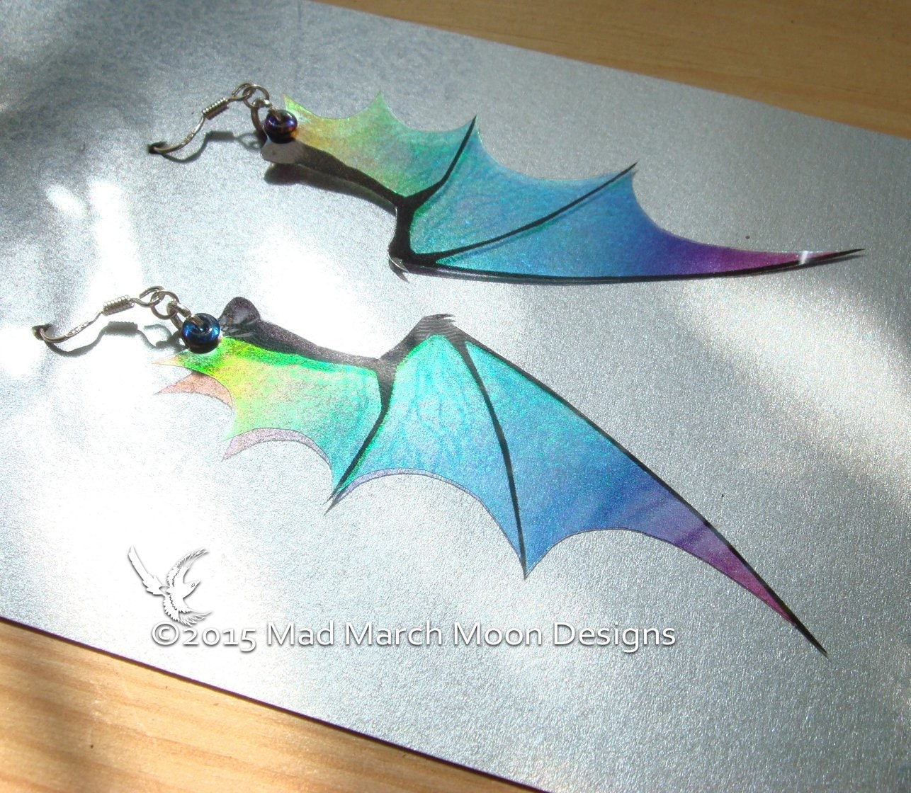 Dragon wing earrings iridescent with sterling silver ear - photo#19