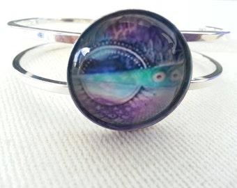 """Bracelet Purple blue Hinge Bangle """"Patchwork Mandala"""""""