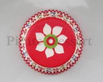 FLOWER CUPCAKE LINERS, Cupcake papers - Standard cupcake pan liners - Birthday - Shower - Wedding - Spring Cupcakes (Red) (24 liners)