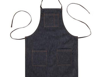 Premium Gift for woman and man Chef Works Handmade Apron Japanese Cross Back Denim  Natural APRON-Dark Blue color