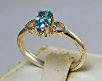 Cambodian Blue Zircon Ring Handmade in Sterling Silver, Ring Size 6 /12