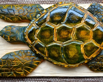 Sea Turtle Relief Carving