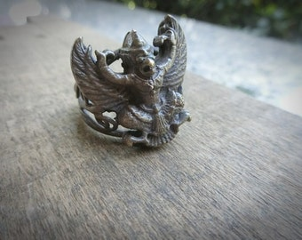 A Brass Garuda Ring