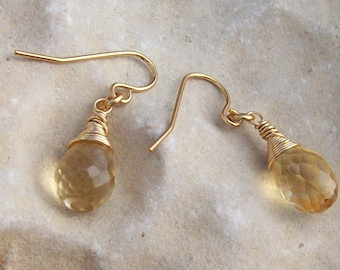Handmade Wire Wrapped Faceted Citrine Tear Earrings