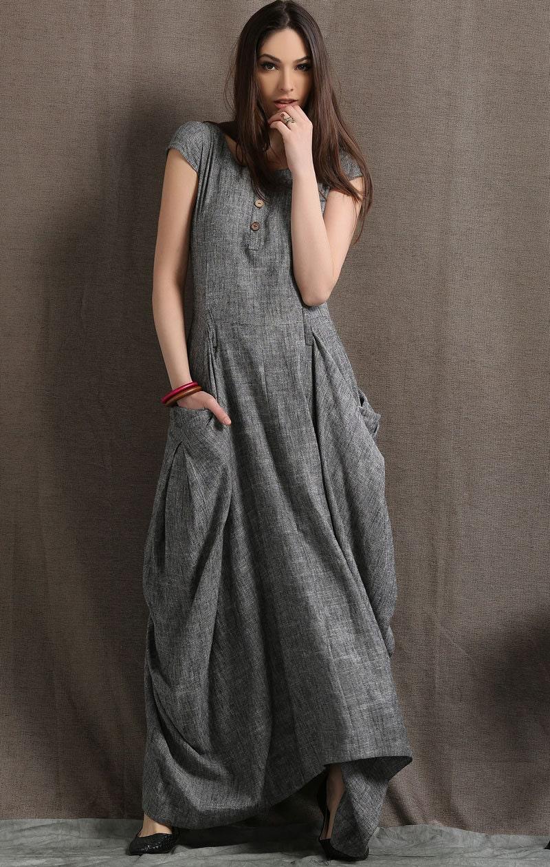 Gray Linen Dress Long Maxi Boho Style Short Sleeved Shift