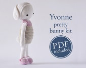 Yvonne pretty bunny, DIY crochet kit, including English instructions, ready to ship by CrochetObjet. not for begginers