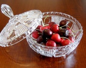 Princess House Lead Crystal Covered Candy Dish - Vintage Princess House Dishes - Retro Crystal