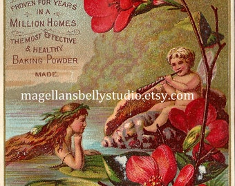Water Nymph & Flute Playing Faerie Instant Digital Download Art 1800's Trade Card  Victorian Era  Dr. Prices Cream Baking Soda Faeries Fairy