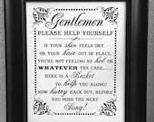 8 x 10 Print- Men's Bathroom Basket /Guest Bathroom Sign Wedding Print / Sign - Single Sheet  (Style: MENS POWDER)