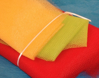 Super Assortment of Nylon Netting - Lime Green, Gold, Red Nylon Netting - Perfect for Scrubbies, Back Scrubber and More - DESTASH