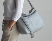 Grey leather handbag - Soft grey leather purse - Cross body hobo bag