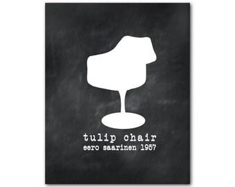 Wall Art Tulip Chair - Eero Saarinen Mid-century modern Chair Silhouette - retro chair print - Room Decor - Wall Decor - Chair Art