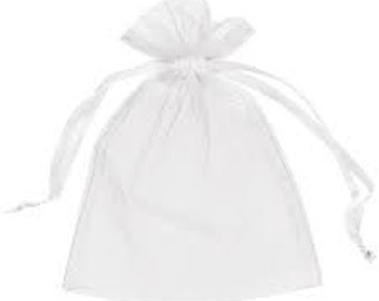 "White Organza Bags Gift Bags Drawstring Wholesale Organza Bags 100 pieces 3.5"" x 2.75"