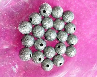 Bulk Beads Wholesale Beads Black Silver Beads Metal Beads 10mm Beads Silvery Black Gunmetal Stardust 50 pieces