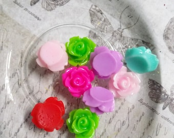 Flower Cabochons 10mm Resin Flowers Rose Cabochons Small Flower Flat Backs Assorted Cabochons SAMPLE 10 pieces