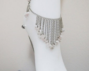 Unique Moonstone Chain Anklet - Gemstone Anklet - Elegant Anklet,gift for Her,Boot Bling Anklet ,