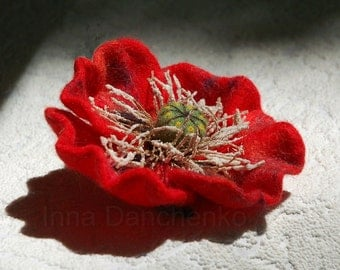 Red Poppy Felted Brooch - ready to ship