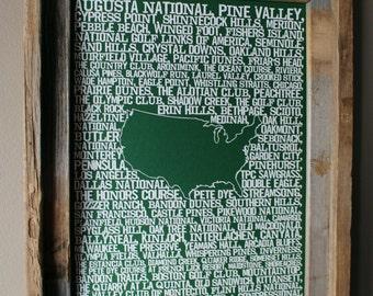 Golf in America Word Map (Green) - Unframed