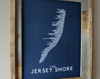The Jersey Shore Word Map (Dark Blue) - Unframed