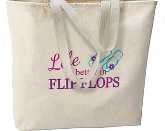 Life Is Better In Flip Flops New Large Tote Bag Beach Travel Gifts
