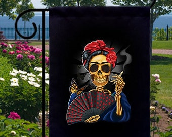 Frida Smoking Skull New Small Garden Flag Events Gifts Day of the Dead
