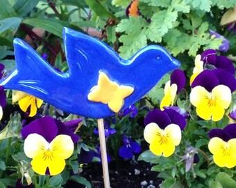 Bluebird Plant Stake, Bird Decor, Nature Lover, Plant Pot Decor, Bird Lover, Lovebirds, Gardeners Gift, Garden Decor, Garden Art, Bird Art