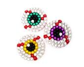 Mini EYE SEE YOU Brooch You Choose Iris Colour - Custom Coloured Crystal & Pearl Encrusted Eyeball Accessory - Horror Psychobilly Pin Badge