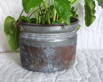 Vintage Turkish copper CAULDRON PRIMITIVE antique pail. Large, heavy, rugged pot, Wrought iron handle, Old ice bucket, Garden planter decor