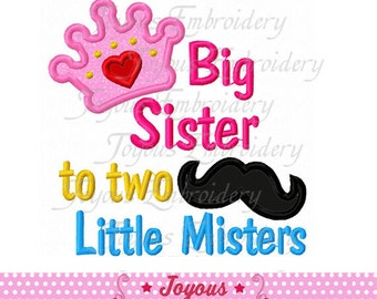 Instant Download Big Sister to two little Misters Applique Machine Embroidery Design NO:1753