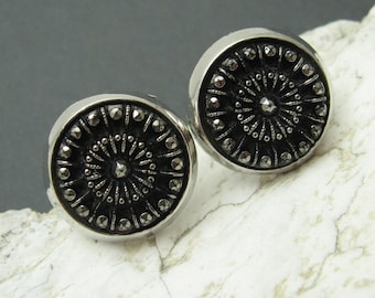 Black Marcasite Cufflinks Hickok Accessories Vintage Mens Jewelry H713